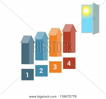 Template for Infografics Four Number Options Arrows in the form of Ladder Upwards Doorway Sky Sun.