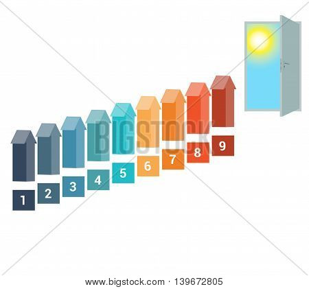 Template for Infografics Nine Number Options Arrows in the form of Ladder Upwards Doorway Sky Sun.