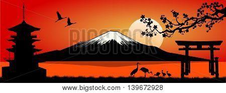 Silhouette Fuji mountain at sunset. Landscape Mount Fuji.