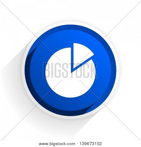chart flat icon with shadow on white background, blue modern design web element