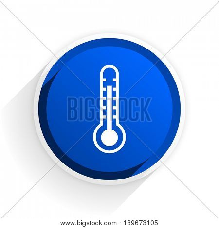 thermometer flat icon with shadow on white background, blue modern design web element