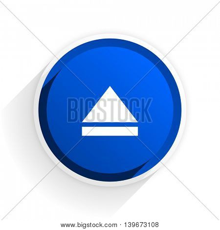 eject flat icon with shadow on white background, blue modern design web element