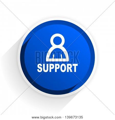 support flat icon with shadow on white background, blue modern design web element
