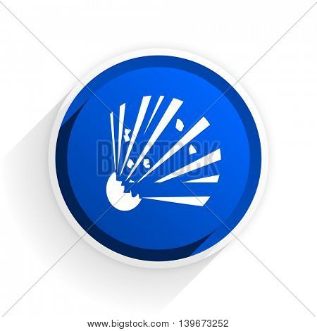 bomb flat icon with shadow on white background, blue modern design web element