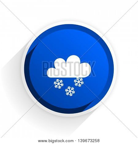 snowing flat icon with shadow on white background, blue modern design web element