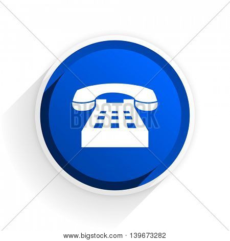 phone flat icon with shadow on white background, blue modern design web element