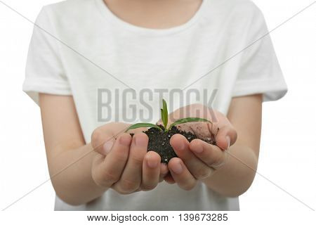 Child holding soil and plant on white background