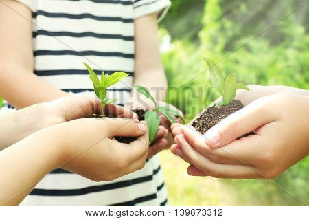 Kids holding soil and plant in hands outdoor