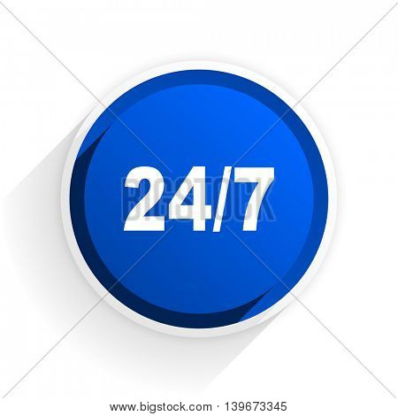 24/7 flat icon with shadow on white background, blue modern design web element
