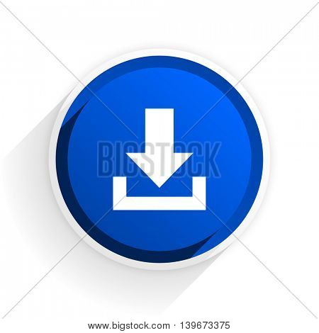 download flat icon with shadow on white background, blue modern design web element