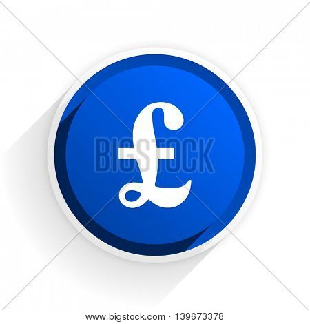 pound flat icon with shadow on white background, blue modern design web element