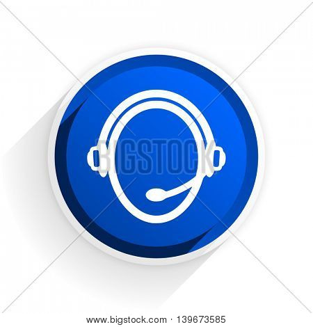 customer service flat icon with shadow on white background, blue modern design web element