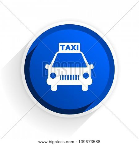 taxi flat icon with shadow on white background, blue modern design web element