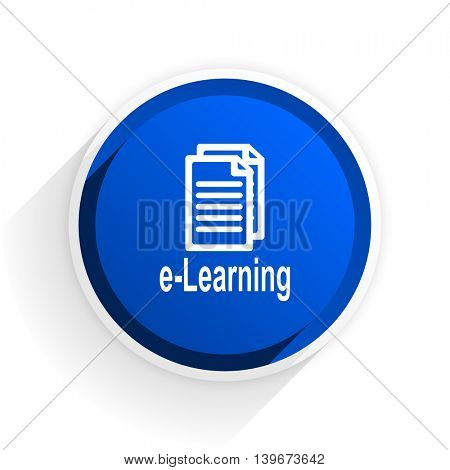 learning flat icon with shadow on white background, blue modern design web element