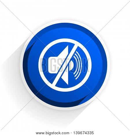mute flat icon with shadow on white background, blue modern design web element
