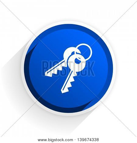 keys flat icon with shadow on white background, blue modern design web element
