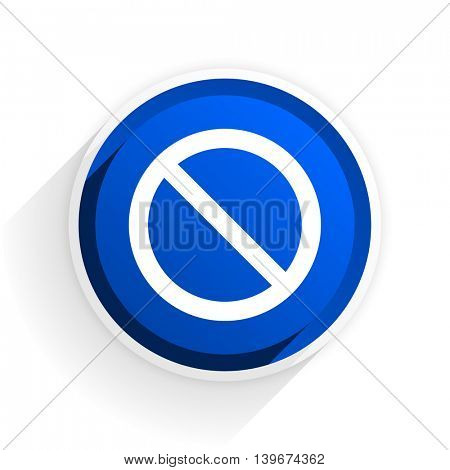 access denied flat icon with shadow on white background, blue modern design web element