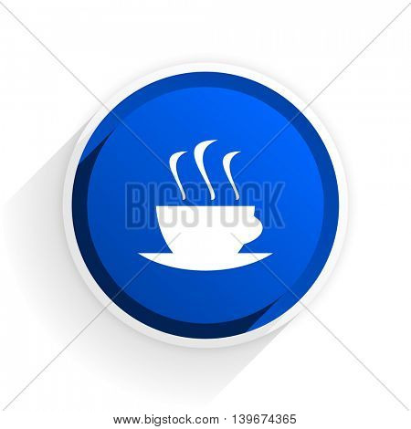 espresso flat icon with shadow on white background, blue modern design web element