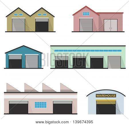 Set of four warehouses. Warehouse icon. Storehouse building isolated in flat style.