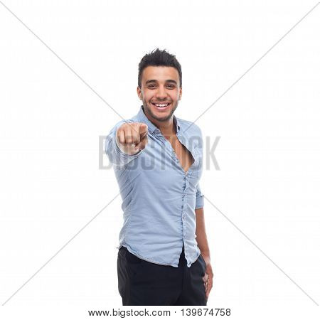 Handsome business man point finger at you happy smile, businessman wear blue shirt isolated over white background