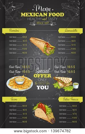 Drawing vertical color mexican food menu design on blackboard