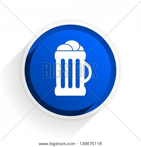 beer flat icon with shadow on white background, blue modern design web element