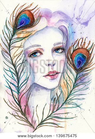 Portrait of beautiful girl with peacock feathers in her hair. Fashion watercolor illustration