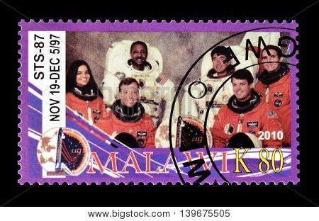 MALAWI - CIRCA 2010 : Cancelled postage stamp printed by Malawi, that shows astronauts, circa 2010.