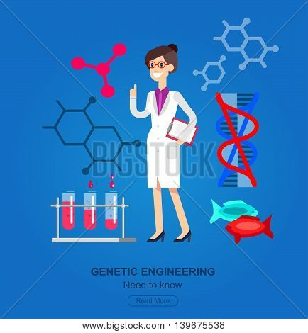 detailed character woman scientis, laboratory technician looking through a microscope, Biotechnology icons concept, composition of genetic engineering