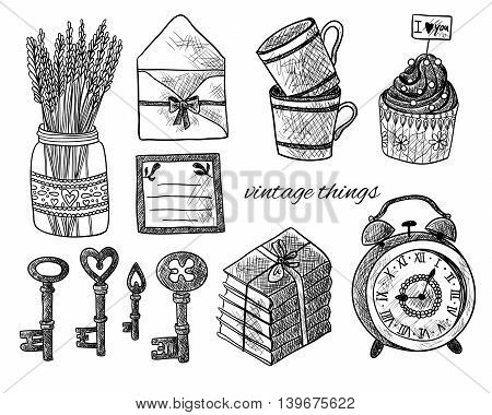 Set of vintage things on white background. Vintage keys, lavender, envelope, letter, cupcakes, cups, books, alarm clock. Black and white illustration