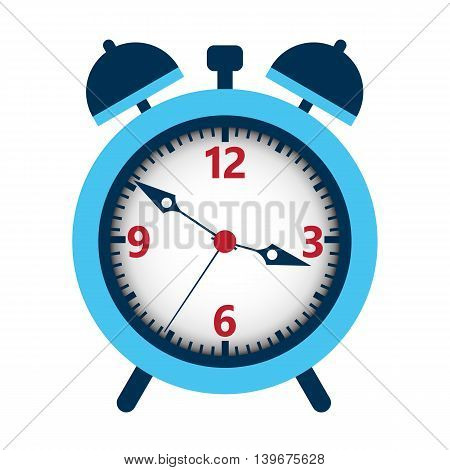 Alarm clock isolated over white. Vector illustration of time meter.