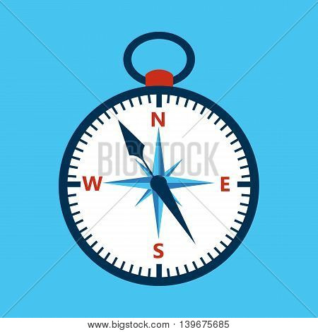 Compass over blue. Vector illustration of measuring tool.