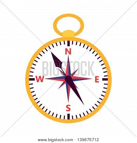 Flat compass over white. Vector illustration of measuring tool.