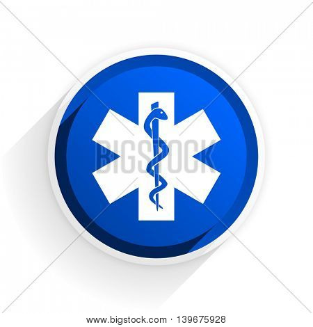 emergency flat icon with shadow on white background, blue modern design web element
