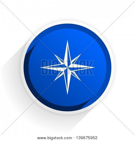 compass flat icon with shadow on white background, blue modern design web element
