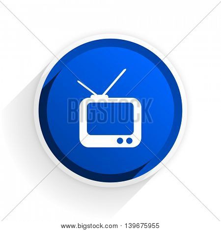 tv flat icon with shadow on white background, blue modern design web element