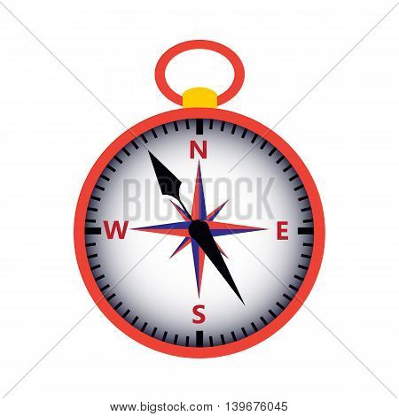Red compass isolated over white. Vector illustration of measuring tool. Wind rose.