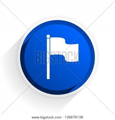 flag flat icon with shadow on white background, blue modern design web element