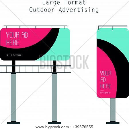 Vector Flat Illustration of the Large Format Outdoor Advertising