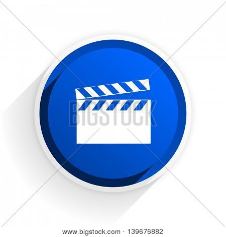 video flat icon with shadow on white background, blue modern design web element