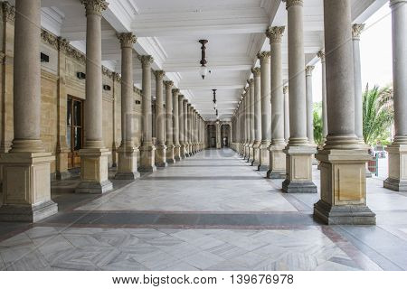 Mill colonnade (Mlynska kolonada) in Karlovy Vary spa houses various hot springs, Czech Republic