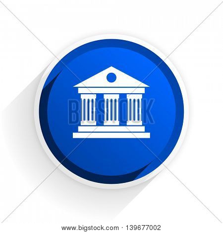 museum flat icon with shadow on white background, blue modern design web element