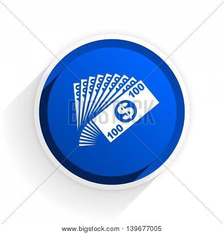 money flat icon with shadow on white background, blue modern design web element