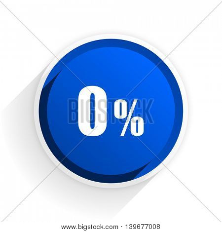 0 percent flat icon with shadow on white background, blue modern design web element