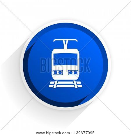 train flat icon with shadow on white background, blue modern design web element