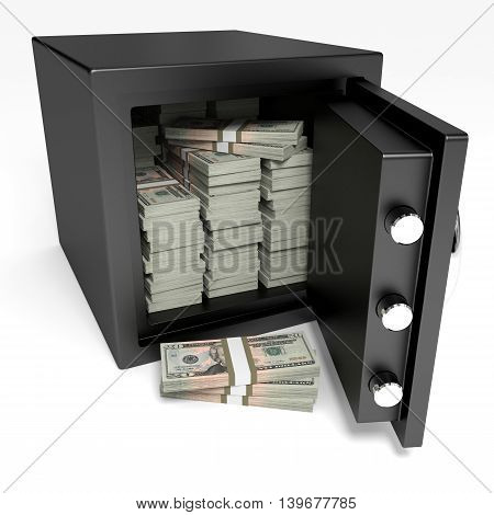 Opened Safe With Bank Notes. Twenty Dollars.