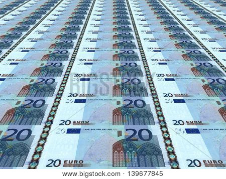 A lot of euro background. Twenty euros. 3D illustration.