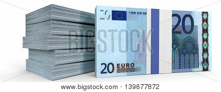 Stacks Of Money. Twenty Euros.