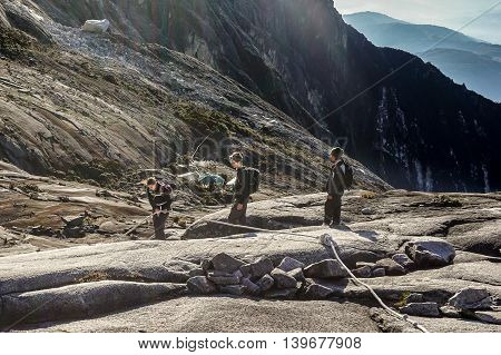 Ranau,Sabah,Malaysia-March 13,2016:Group of adventurer climbers move down to Laban Rata after successfully completed conquering the mountain Kinabalu.