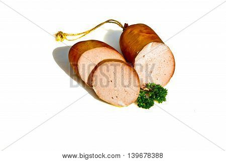 delicious liver sausage in detail isolated on white